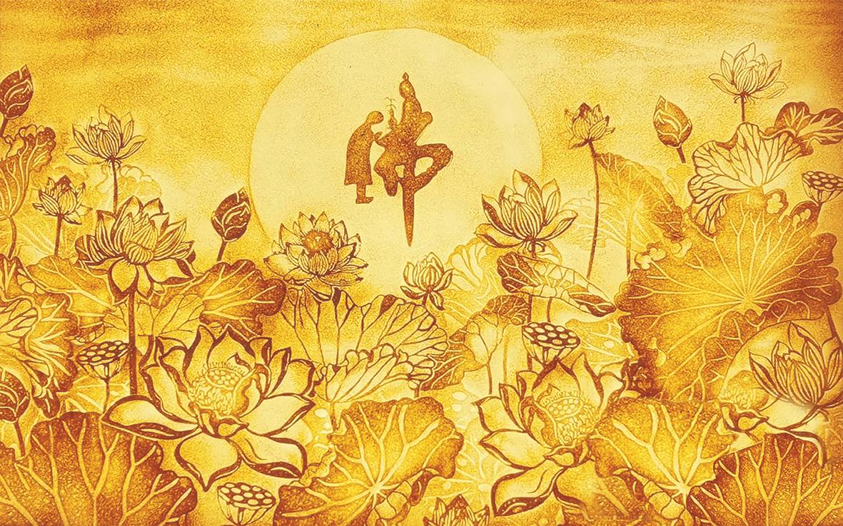 Tranh trúc chỉ hoa Sen