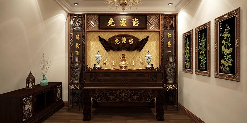 Bộ tranh thờ tổ tiên giúp căn phòng trở nên sang trọng