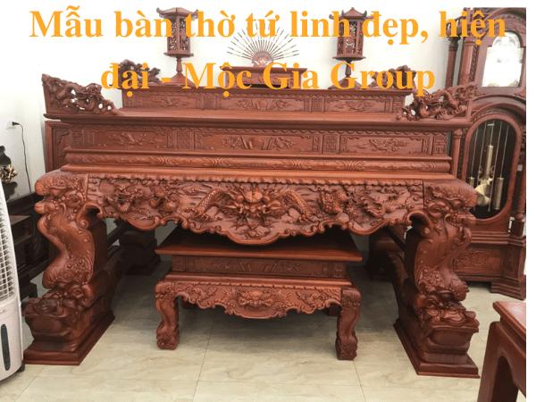 Mẫu bàn thờ tứ linh đẹp, hiện đại