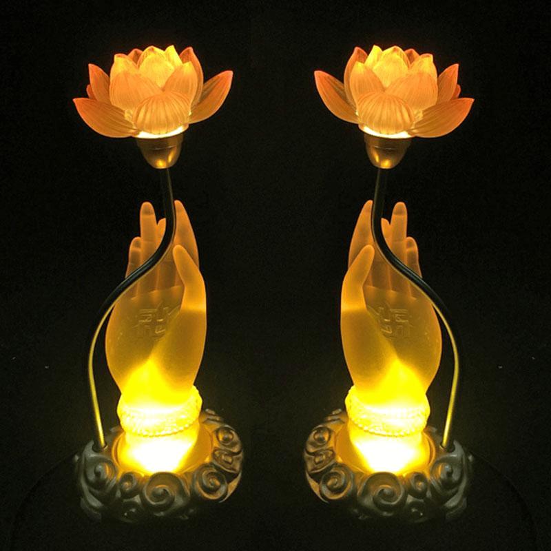 Đèn bàn thờ Phật hoa sen đẹp tinh tế