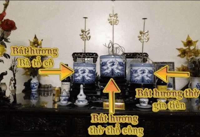 Vị trí bày bát hương trên bàn thờ