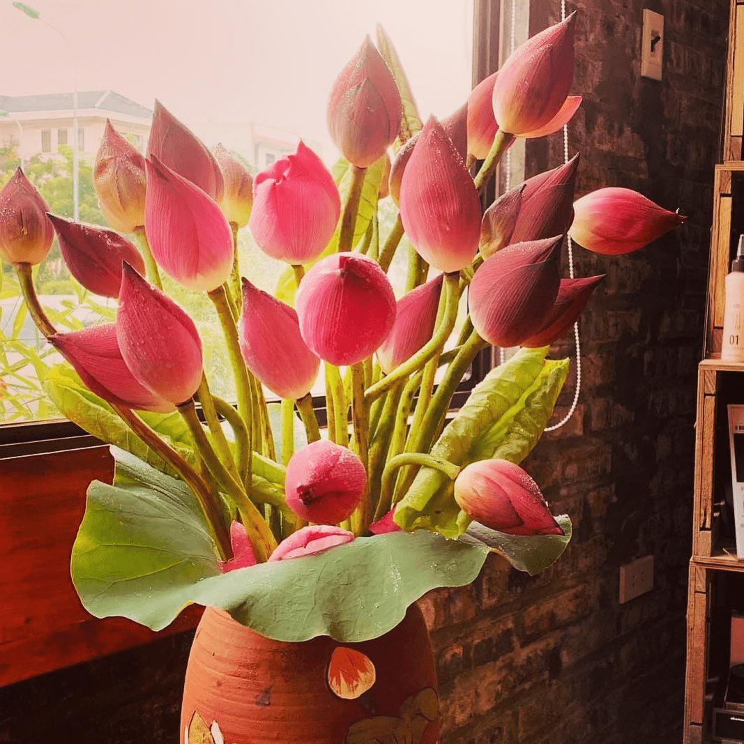 Hoa sen rất phù hợp để cắm trên bàn thờ